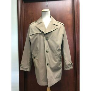 London Fog Men Beige Coat Lined Button Front Sz M